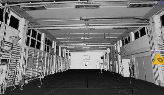Point cloud of a sports hall located in Bäckehagen school in Stockholm